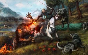 Witcher, horse, werewolf, wolves ART by Maxifen by Maxifen