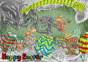 Alien vs Easter Bunny by DerangedMeowMeow