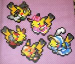 Cosplay Pikachu Perlers by Lie74
