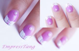 Pink and White Corset Nail Art 2 by EmpressTang