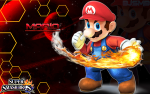 Mario - Super Smash Bros. 4 Wallpaper/Background by BowserJrSMB