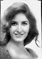 Katrina Kaif - Graphite + Charcoal Powder (mixed) by 64Art