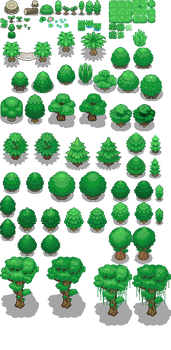 Tons of Tileset 1/10 - Light jungle trees by Phyromatical