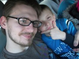 My little brother Tristan and me in the car by forever-at-peace