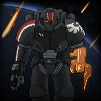 40k: Brother Commander Shepard by wibblethefish
