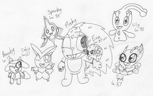 Flaky and her Pokemon by RussellMimeLover2009
