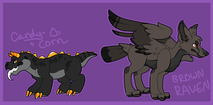 Candy Corn and Brown Raven - POINT ADOPTS - SOLD by stridays