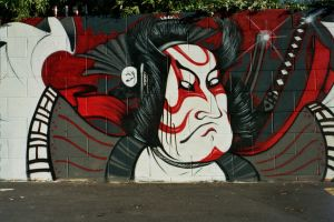 Street Art Samurai by blackpurpleredpink