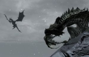 Alduin and Paarthurnax by Giarra