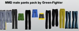 MMD male pants pack updated+DL by Green-Fighter