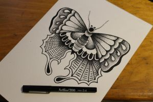 Dotwork Moth by athenadreamer