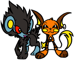 luxray and raichu lovin by denkimouse