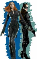 Black Widow with Catwoman by billycsk