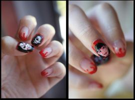 Freddy Krueger and Michael Myers nails by mikiangel001