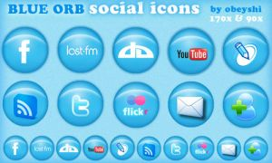 Blue Orb Social Icons by Obeyshi