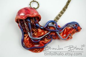 Jellyfish Necklace in Red and Purple by TinfoilHalo