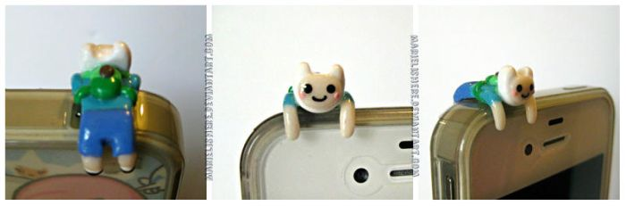 Adventure Time Finn Cell Phone Dust Plug Accessory by Marielishere