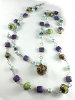 Sterling Silver Purple Turquoise Lampwork Necklace by DryGulchJewelry