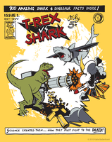 T-Rex Vs Shark by OrigamiCupcake