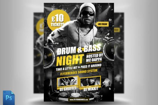 Drum and Bass Flyer Template by quickandeasy1