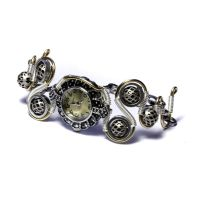 Steampunk Silver golden watch by CatherinetteRings