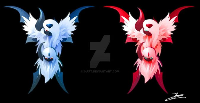 Absol and Shiny Absol by Ilona-the-Sinister