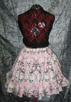 Skulls and Roses Ruffle Skirt by SeraphimFeathers