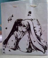 Sesshomaru and Kikyou paper bag by jiegengDai