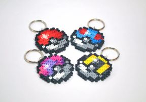 Pokeball Key Chains by craftyhanako