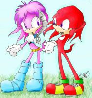 Julie-Su and Knuckles colored by LeniProduction