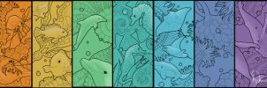 Water Animal Bookmarks Series by FamiliarOddlings
