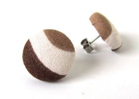 Brown stud earrings post beige stripes fall autumn by KooKooCraft