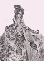 anime girl with tiger by dielectric-m