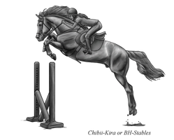 Free Powerful Horse Jumping Bh Stables Greyscale by AquaSalt
