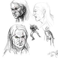 Sketches of Geralt the Witcher by BabushkaYaga