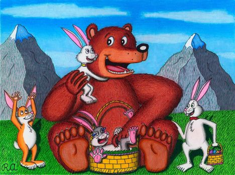 The Bear and the Easter Bunnies by WalterRingtail
