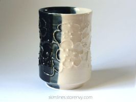 Black and white plum blossoms tea cup 0721 by skimlines
