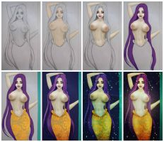 Golden Tail Mermaid - Coloring by Jessica-Lorraine-Z