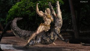 Jungle woman fights croco 27 by eurysthee
