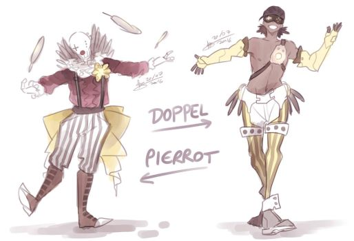 Overwatch OC concepts - Doppel and Pierrot by mangarainbow