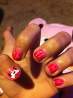 Gloomy bear nails by invaderstitch2000