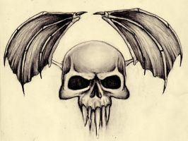 Winged skull by kristina323