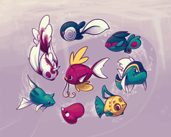 Lots of Pokefish in the Sea by aquamizuko