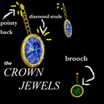 jewel earrings and a brooch by Tehrainbowllama