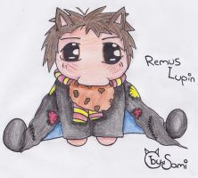 Remus Lupin Chibi with cookie by Samiii-chan