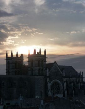 Church in sunset sky by Ankelwar