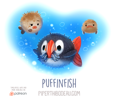 Daily Paint 1560. Puffinfish by Cryptid-Creations