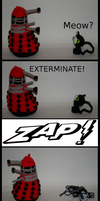 crochet Dalek vs crochet Cat by ikklesammy