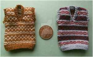 1:12th scale Fairisle slipovers by buttercupminiatures