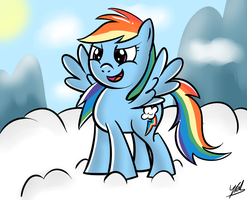 Rainbow Dash on the clouds by YellowTDash